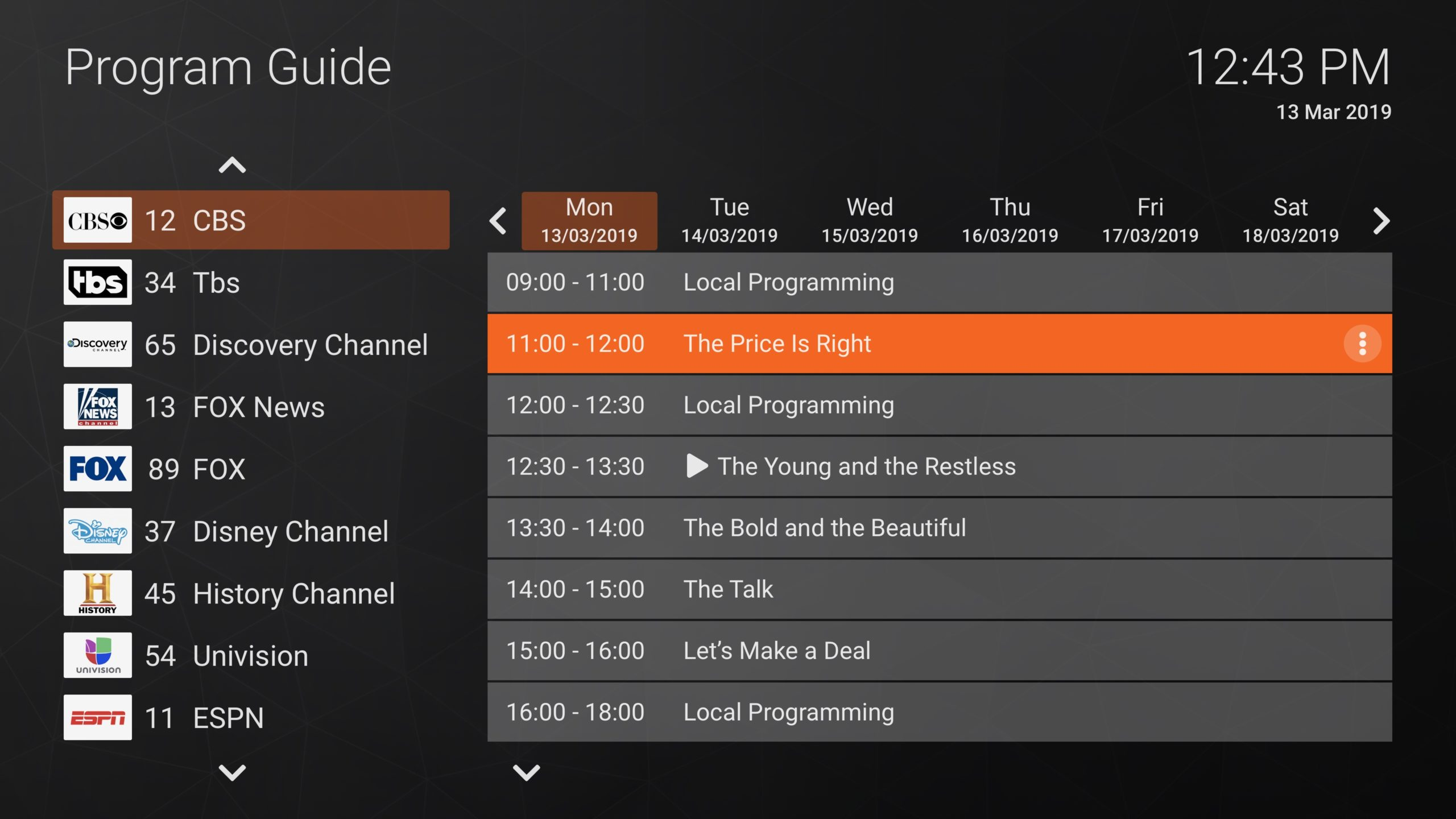 EPG Grid New Layout